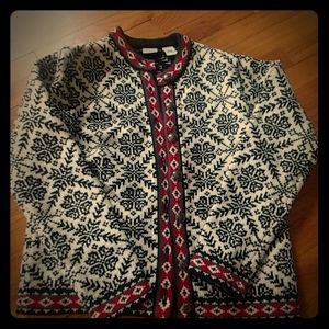 Women's LL Bean Button Front Sweater Snowflake
